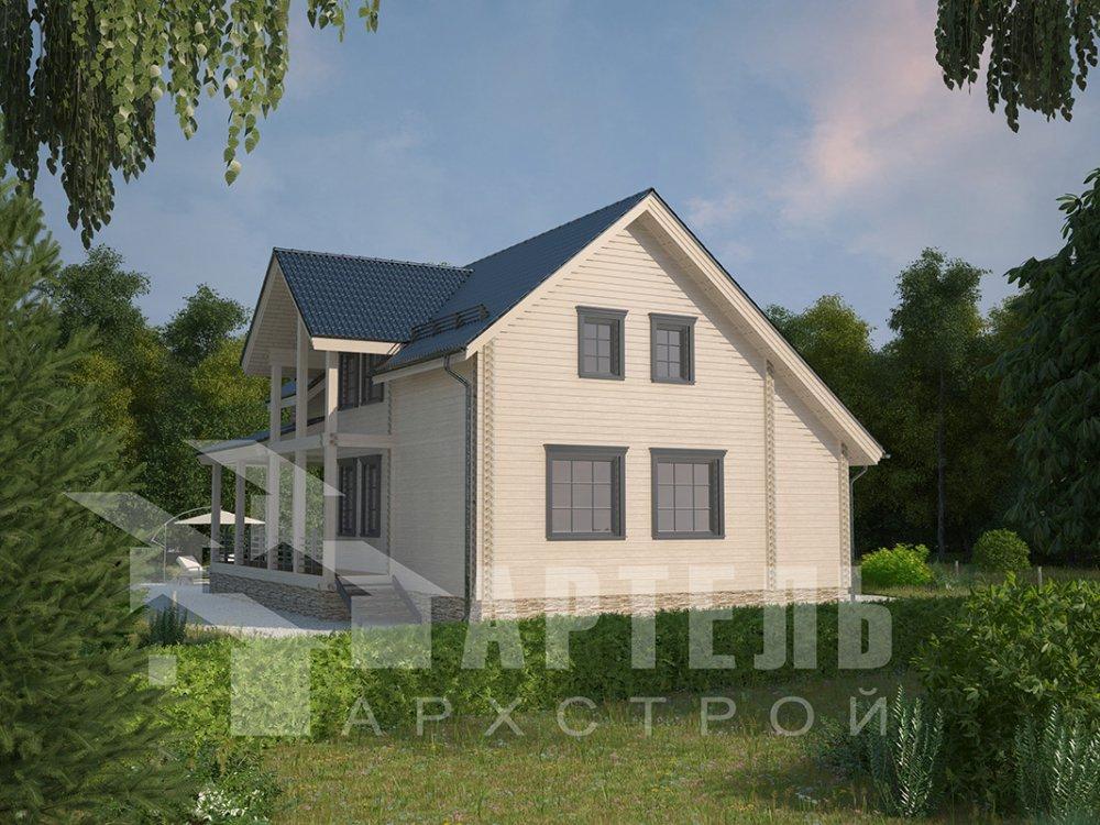 двухэтажный дом из профилированного бруса площадью от 150 до 200 кв. м. с  мансардой, террасой, проект Вариант 8.5 Л фотография 4539