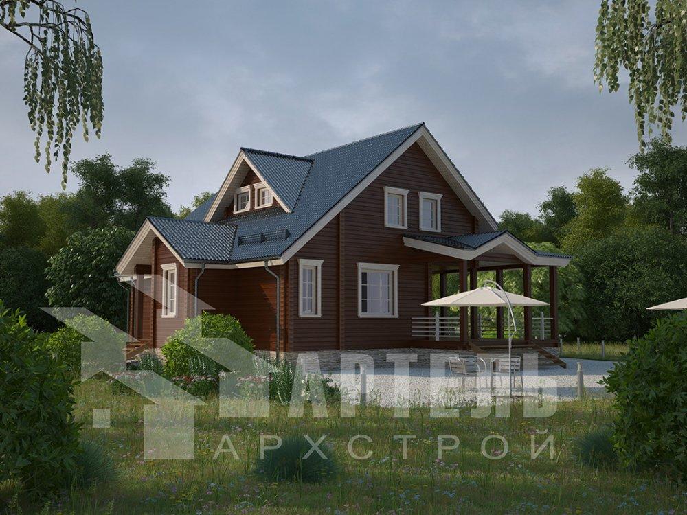 двухэтажный дом из профилированного бруса площадью от 150 до 200 кв. м. с  мансардой, террасой, проект Вариант 8.5 Л фотография 4536