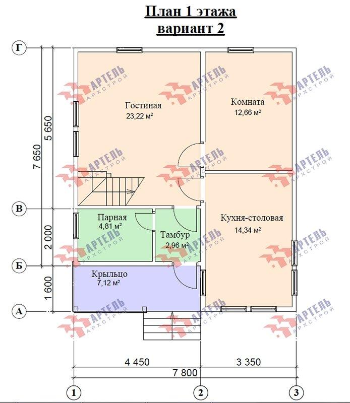 двухэтажный дом из профилированного бруса площадью от 100 до 150 кв. м. с  мансардой, террасой, проект Вариант 8.5 В фотография 4878