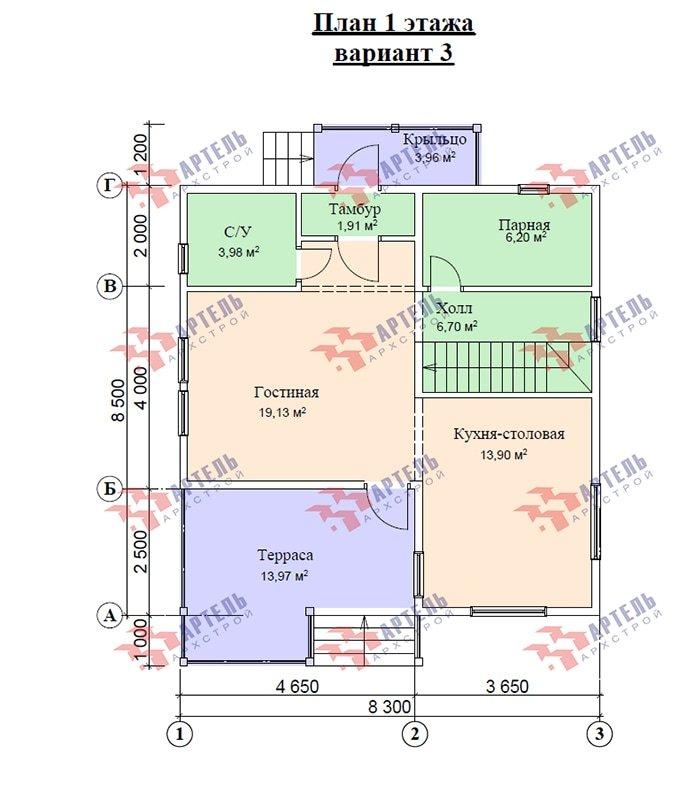 двухэтажный дом из профилированного бруса площадью от 100 до 150 кв. м. с  мансардой, террасой, проект Вариант 8.5 В фотография 4876