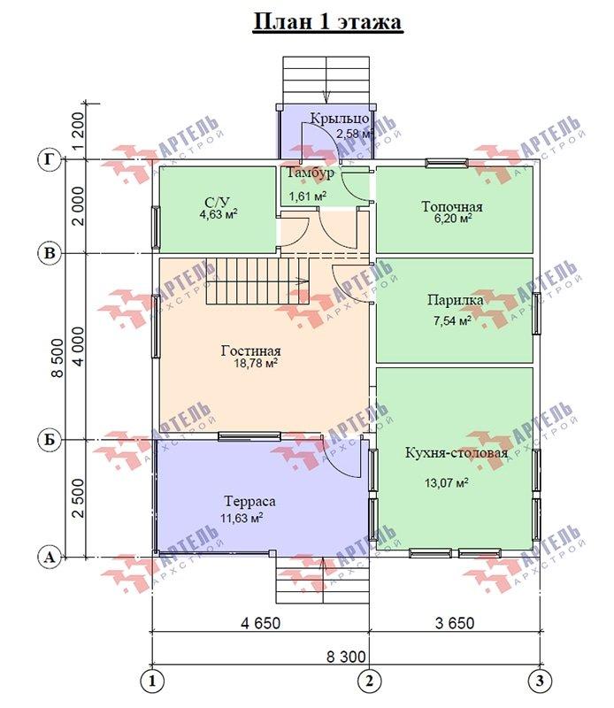 двухэтажный дом из профилированного бруса площадью от 100 до 150 кв. м. с  мансардой, террасой, проект Вариант 8.5 В фотография 4877
