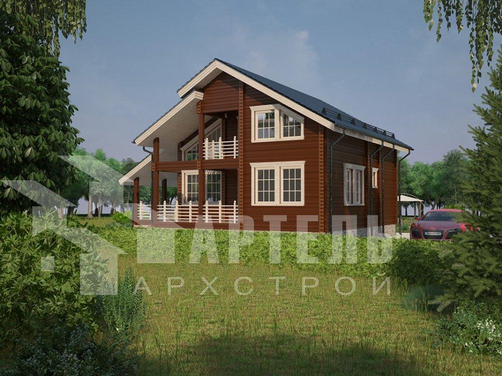 двухэтажный дом из профилированного бруса площадью от 150 до 200 кв. м. с  балконом, мансардой, террасой, проект Вариант 8.6 К фотография 4339