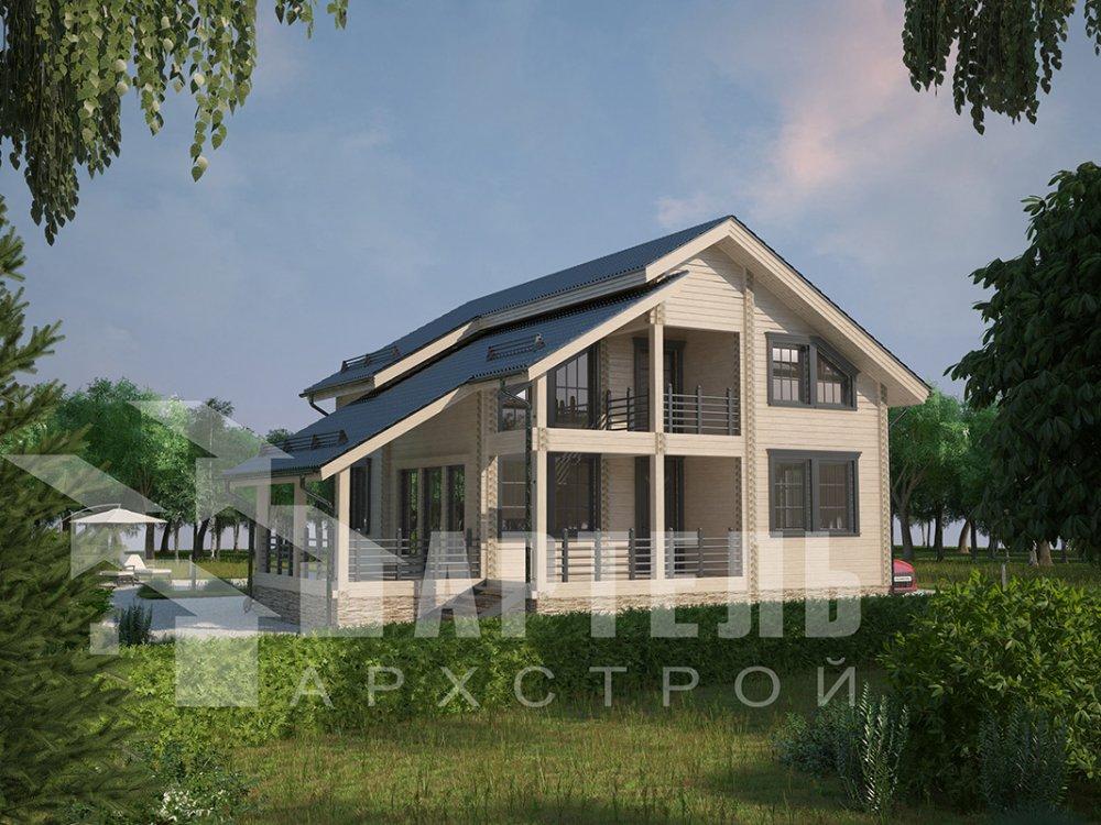 двухэтажный дом из профилированного бруса площадью от 150 до 200 кв. м. с  балконом, мансардой, террасой, проект Вариант 8.6 К фотография 4344