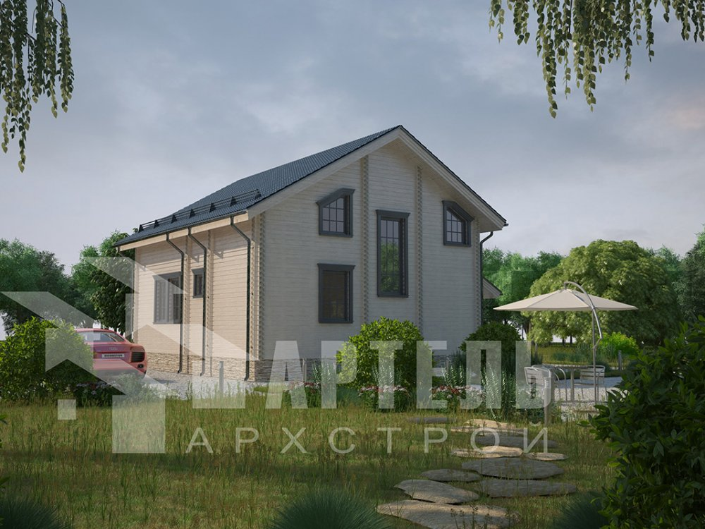 двухэтажный дом из профилированного бруса площадью от 150 до 200 кв. м. с  балконом, мансардой, террасой, проект Вариант 8.6 К фотография 4347