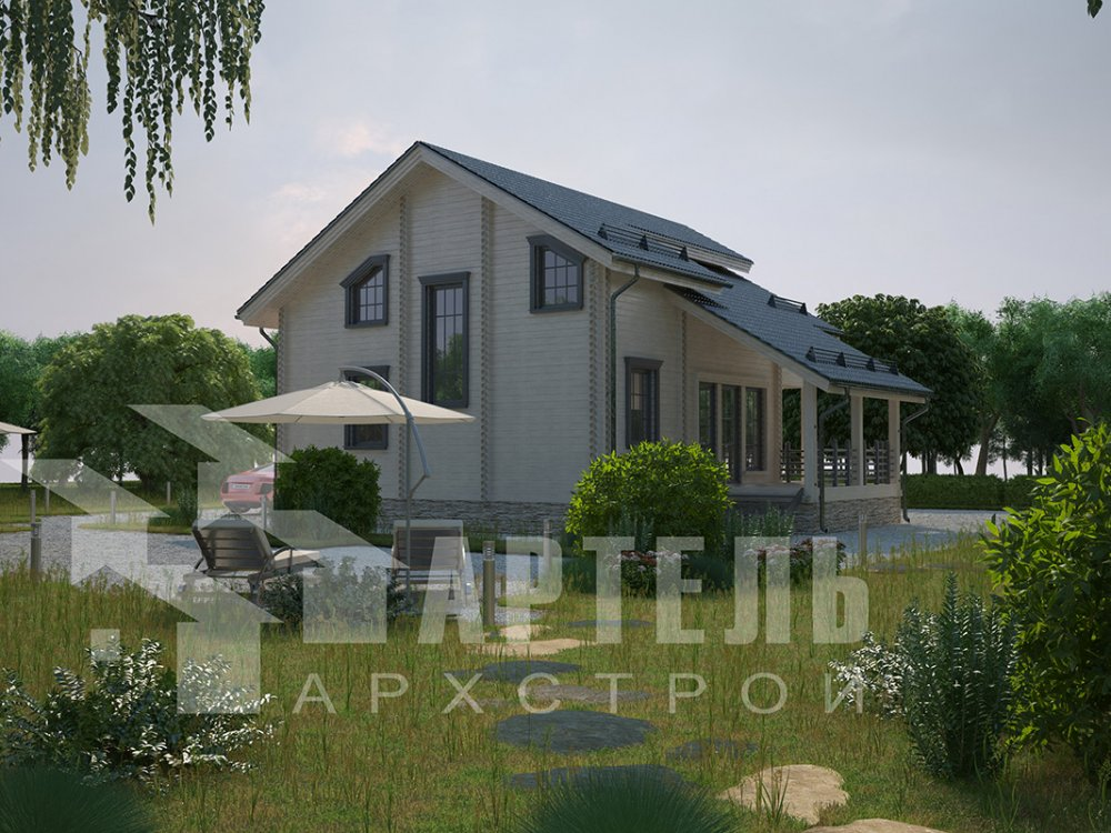 двухэтажный дом из профилированного бруса площадью от 150 до 200 кв. м. с  балконом, мансардой, террасой, проект Вариант 8.6 К фотография 4348