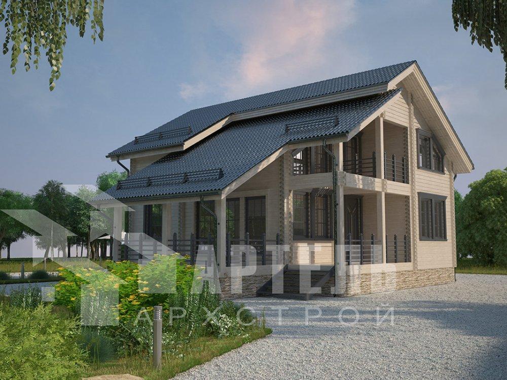 двухэтажный дом из профилированного бруса площадью от 150 до 200 кв. м. с  балконом, мансардой, террасой, проект Вариант 8.6 К фотография 4349