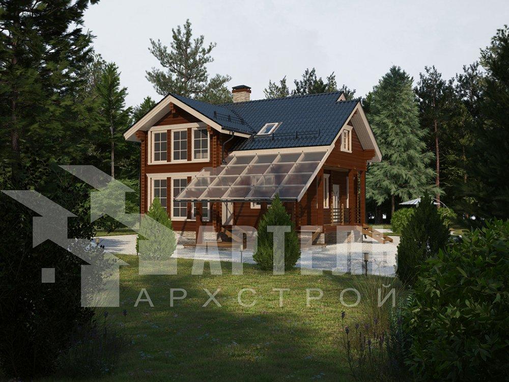 двухэтажный проект площадью от 100 до 150 кв. м. с  мансардой, террасой, проект Вариант 8.7 А фотография 4327