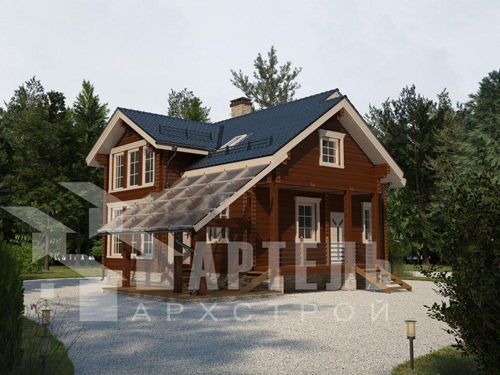 двухэтажный проект площадью от 100 до 150 кв. м. с  мансардой, террасой, проект Вариант 8.7 А фотография 4328