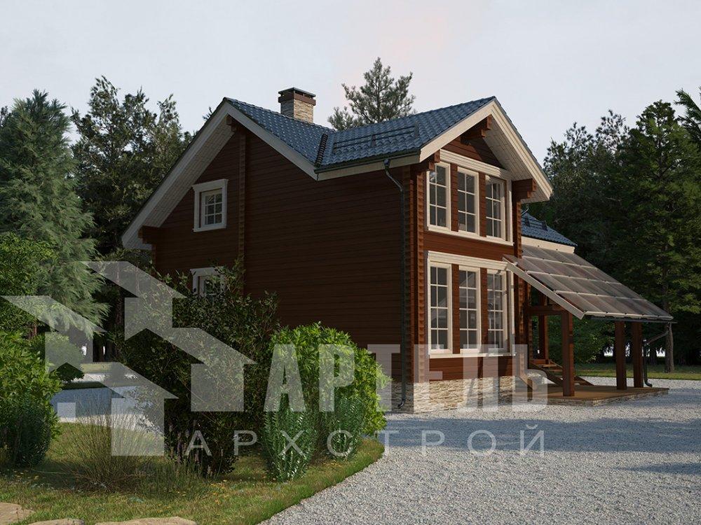 двухэтажный проект площадью от 100 до 150 кв. м. с  мансардой, террасой, проект Вариант 8.7 А фотография 4331