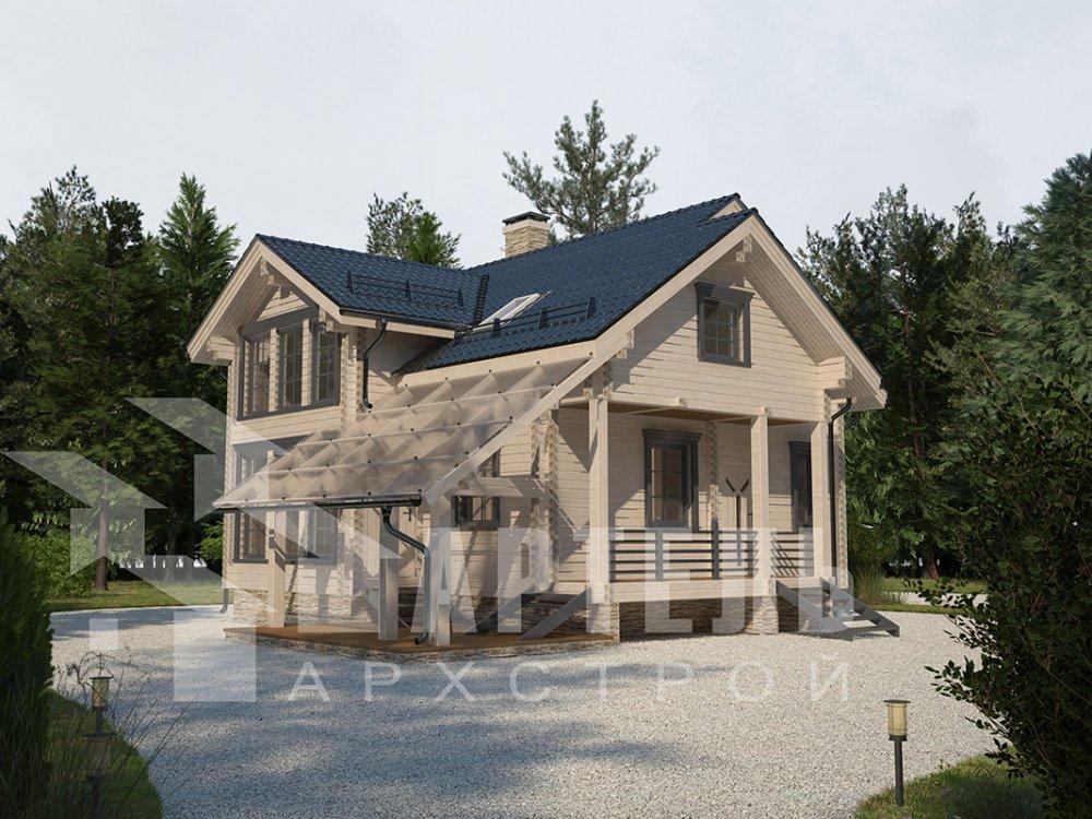 двухэтажный проект площадью от 100 до 150 кв. м. с  мансардой, террасой, проект Вариант 8.7 А фотография 4334