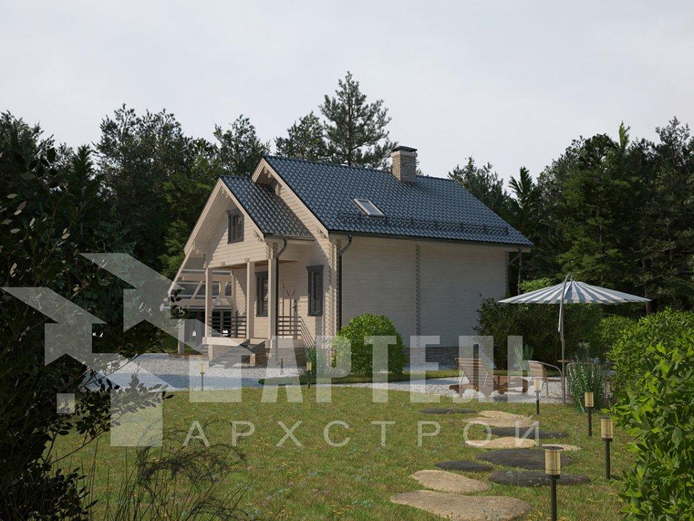 двухэтажный проект площадью от 100 до 150 кв. м. с  мансардой, террасой, проект Вариант 8.7 А фотография 4335