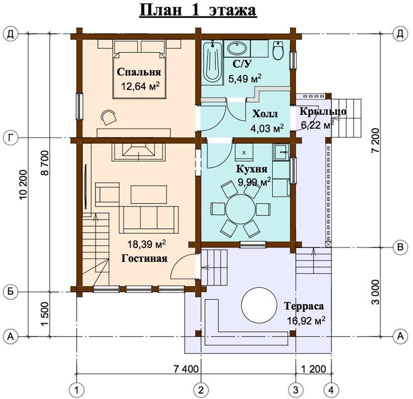двухэтажный проект площадью от 100 до 150 кв. м. с  мансардой, террасой, проект Вариант 8.7 А фотография 4474