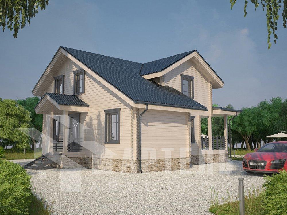 двухэтажный дом из профилированного бруса площадью от 100 до 150 кв. м. с  мансардой, террасой, проект Вариант 8.8 Б фотография 4527