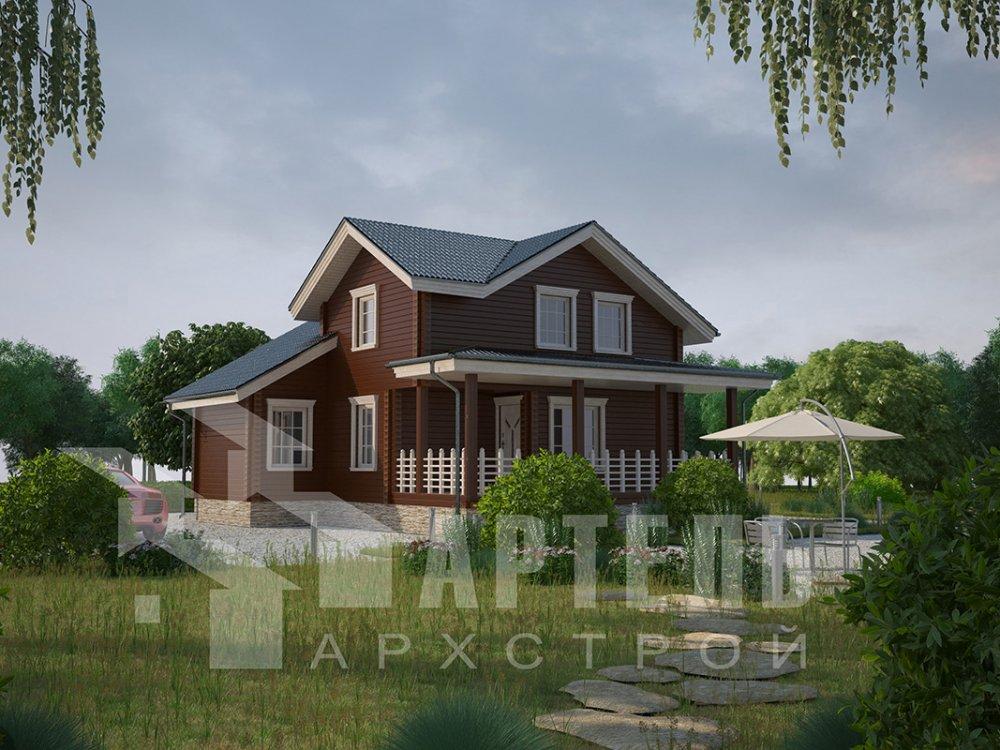 двухэтажный дом из профилированного бруса площадью от 100 до 150 кв. м. с  мансардой, террасой, проект Вариант 8.8 Б фотография 4521