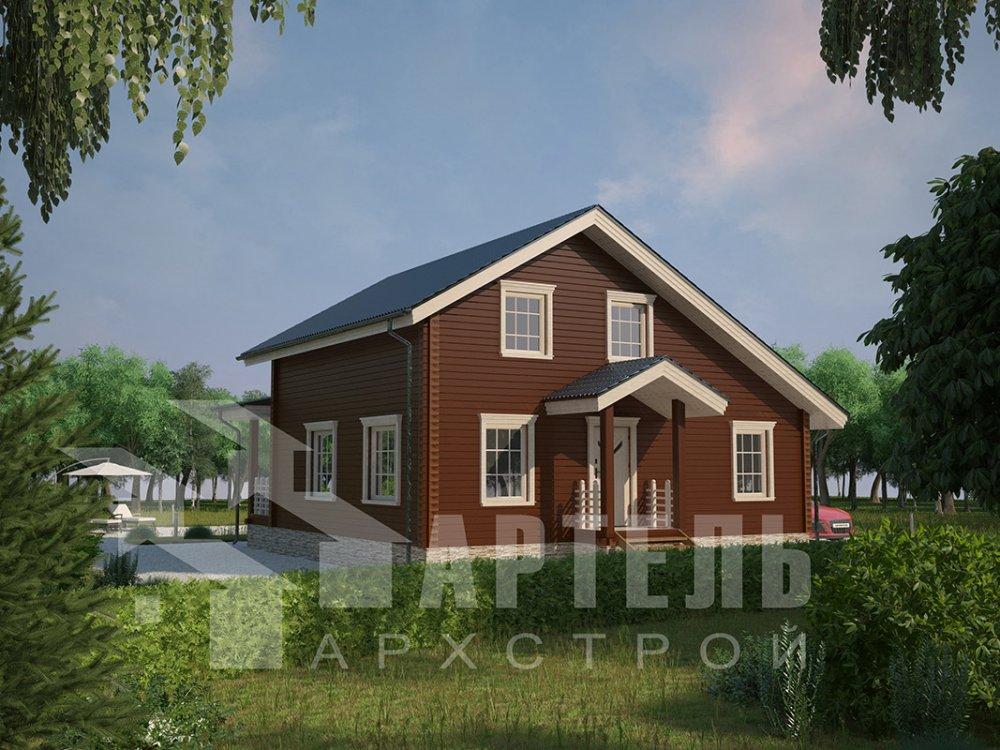 двухэтажный дом из профилированного бруса площадью от 100 до 150 кв. м. с  мансардой, террасой, проект Вариант 8.8 Б фотография 4524