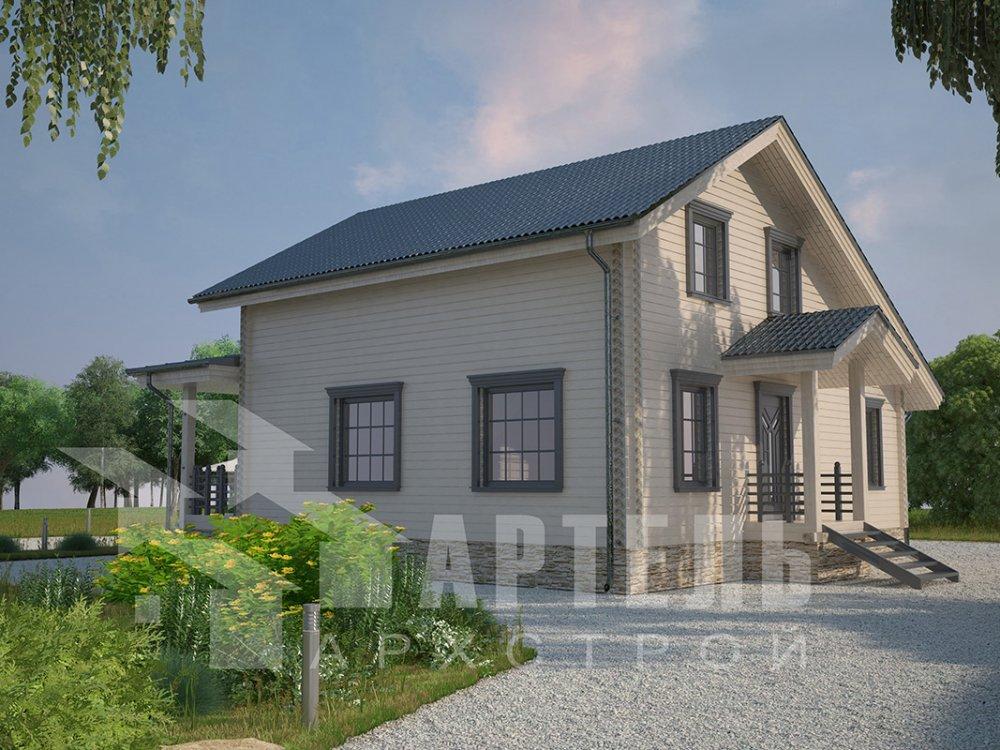 двухэтажный дом из профилированного бруса площадью от 100 до 150 кв. м. с  мансардой, террасой, проект Вариант 8.8 Б фотография 4525