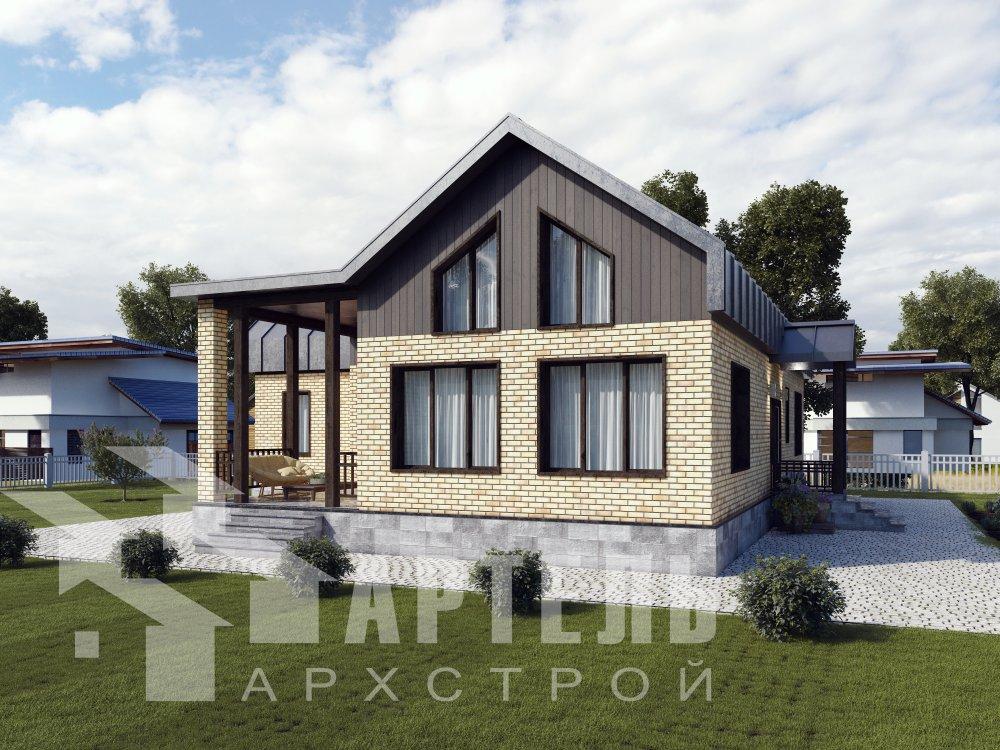 дом омбинированные дома, проект Вариант 14Т Камень и Комбинированный фотография 6346