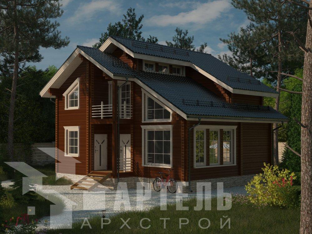 двухэтажный дом из профилированного бруса площадью от 100 до 150 кв. м. с  балконом, мансардой, проект Вариант 9.3 К фотография 6409