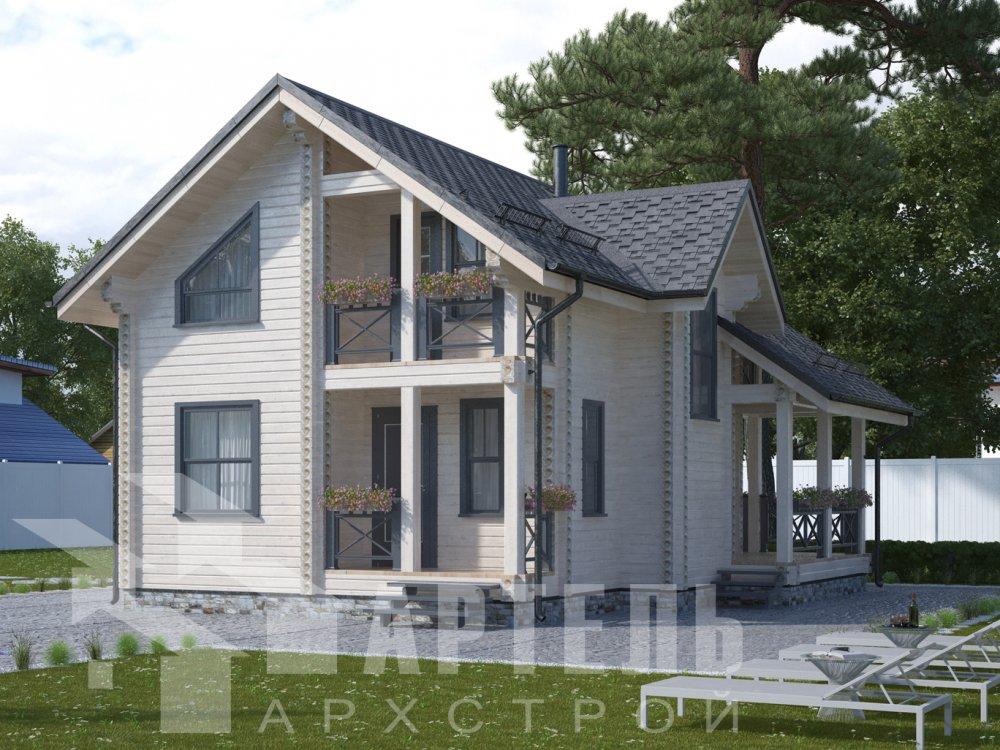 двухэтажный дом омбинированные дома площадью от 100 до 150 кв. м., проект Вариант 9,9К Камень и Комбинированный фотография 6501