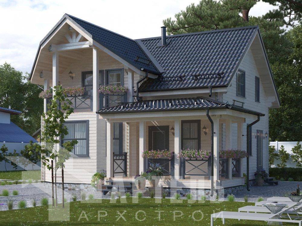 двухэтажный дом из профилированного бруса площадью от 100 до 150 кв. м. с  балконом, террасой, проект Вариант 10.7Л фотография 6550