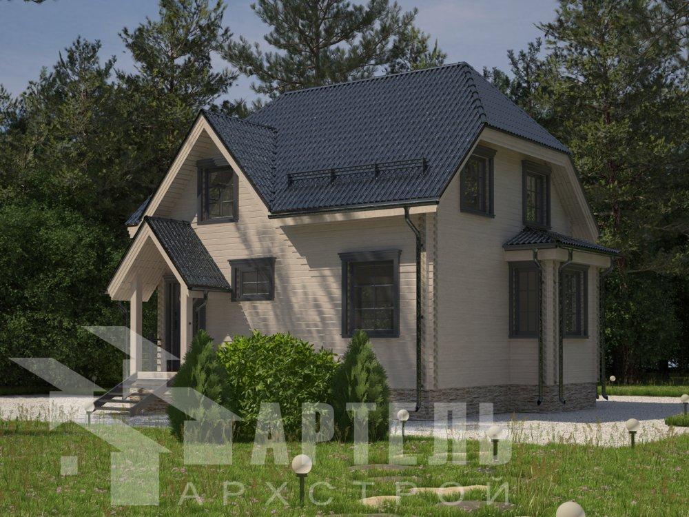 двухэтажный дом из профилированного бруса площадью до 100 кв. м. с  мансардой, эркером, проект Вариант 7 Г фотография 6591
