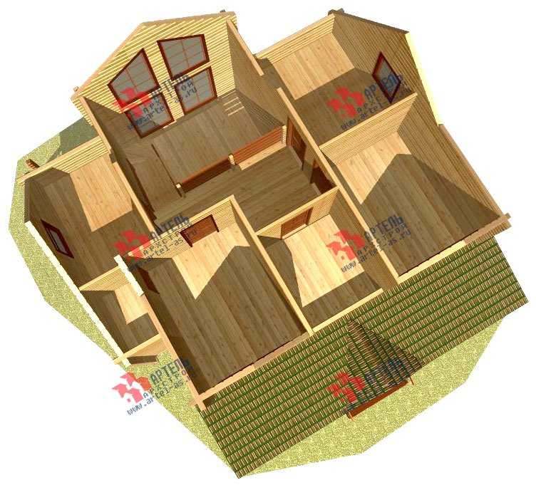 двухэтажный дом из профилированного бруса площадью от 150 до 200 кв. м., проект Вариант 9 О фотография 367