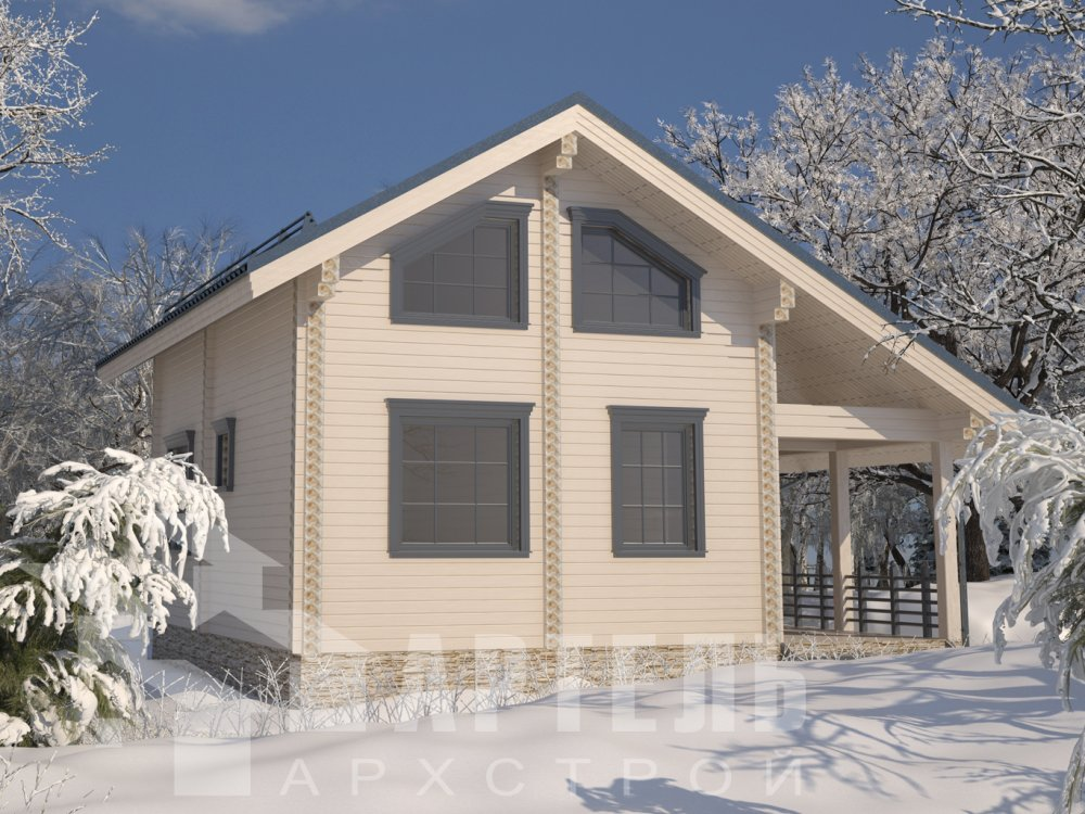 двухэтажный дом из профилированного бруса площадью от 100 до 150 кв. м. с  верандой, мансардой, эркером, проект Вариант 6 Л фотография 6617