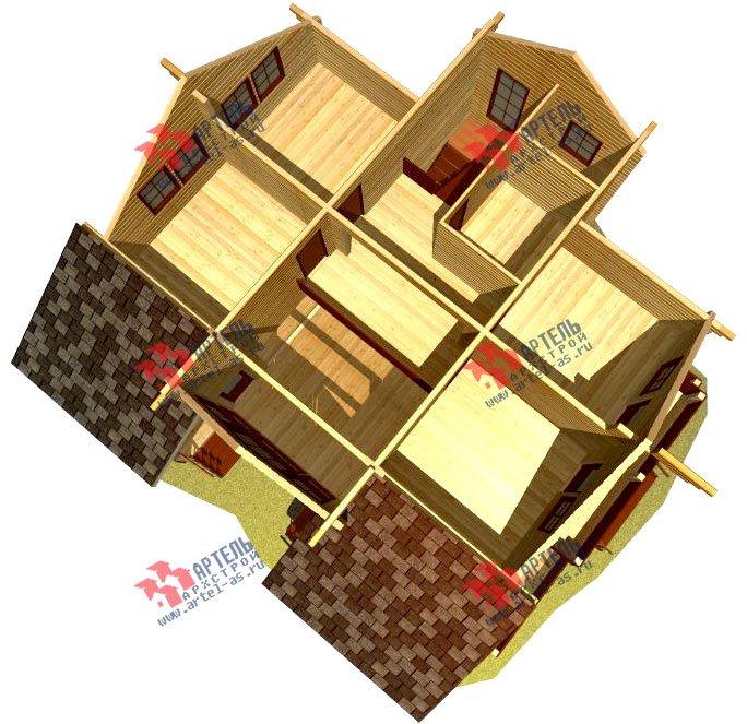 двухэтажный дом из профилированного бруса площадью свыше 200 кв. м. с  балконом, мансардой, террасой, эркером, проект Вариант 11 К фотография 434