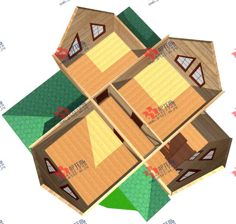 двухэтажный дом из профилированного бруса площадью от 100 до 150 кв. м. с  мансардой, проект Вариант 7.3 Б фотография 930