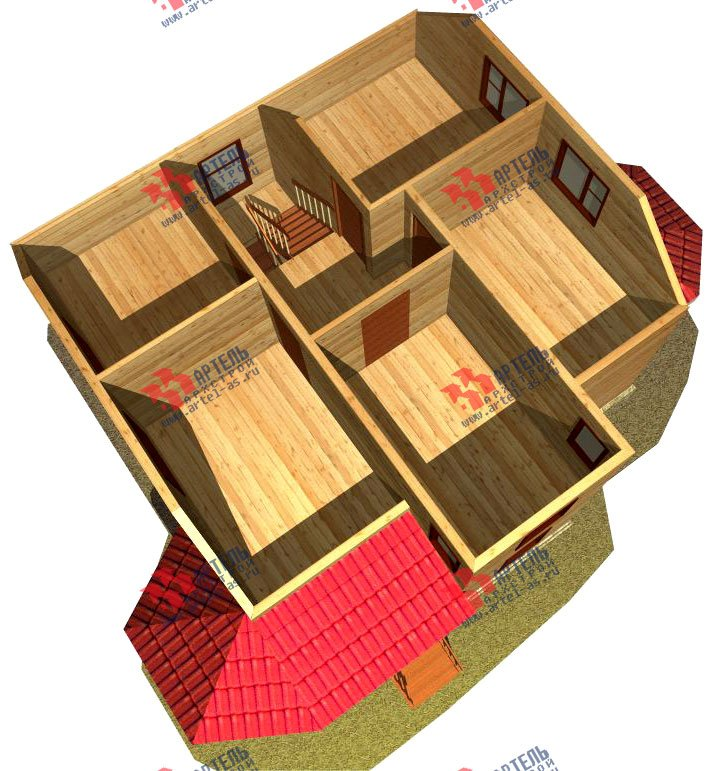 двухэтажный дом из бруса площадью от 100 до 150 кв. м. с  мансардой, террасой, эркером, проект Вариант 8 Д-1 фотография 1018