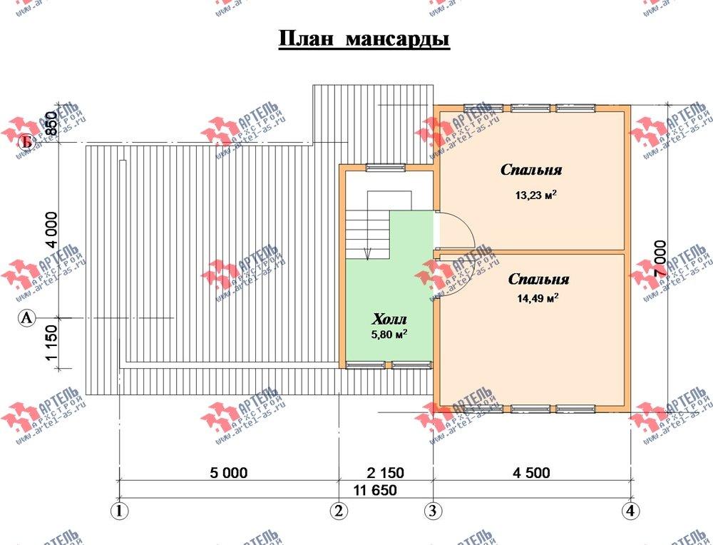 двухэтажный дом из бруса площадью до 100 кв. м. с  мансардой, проект Вариант 7 Л фотография 2168