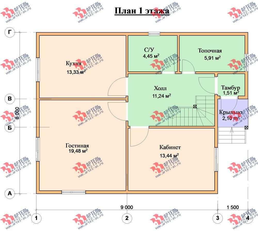 двухэтажный дом из бруса площадью от 100 до 150 кв. м. с  мансардой, проект Вариант 8 А-1 фотография 2194