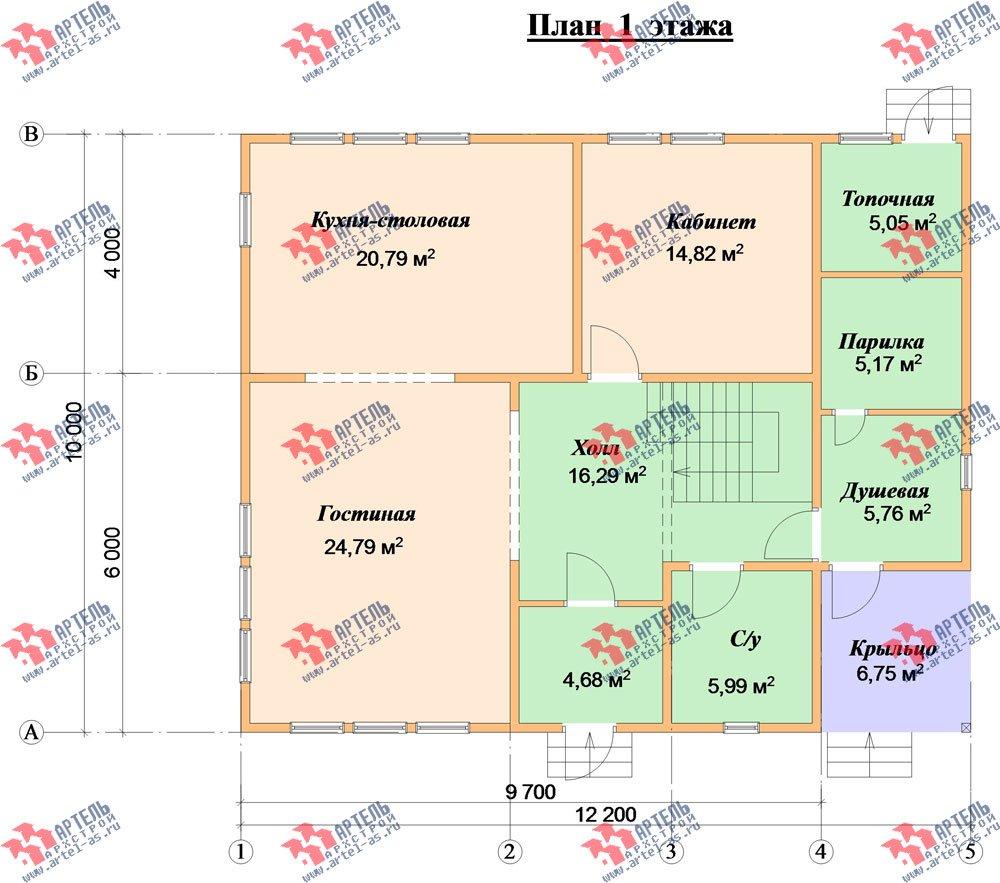 двухэтажный дом из бруса площадью от 150 до 200 кв. м. с  мансардой, проект Вариант 12.2 А фотография 2216