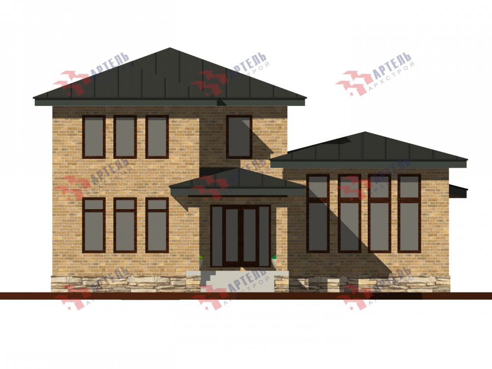 дом омбинированные дома площадью от 150 до 200 кв. м. с  мансардой, проект Вариант 13,5Б Камень и Комбинированный фотография 6121