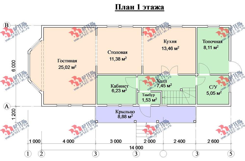 двухэтажный дом из бруса площадью от 150 до 200 кв. м. с  балконом, проект Вариант 6 О-1 фотография 2280