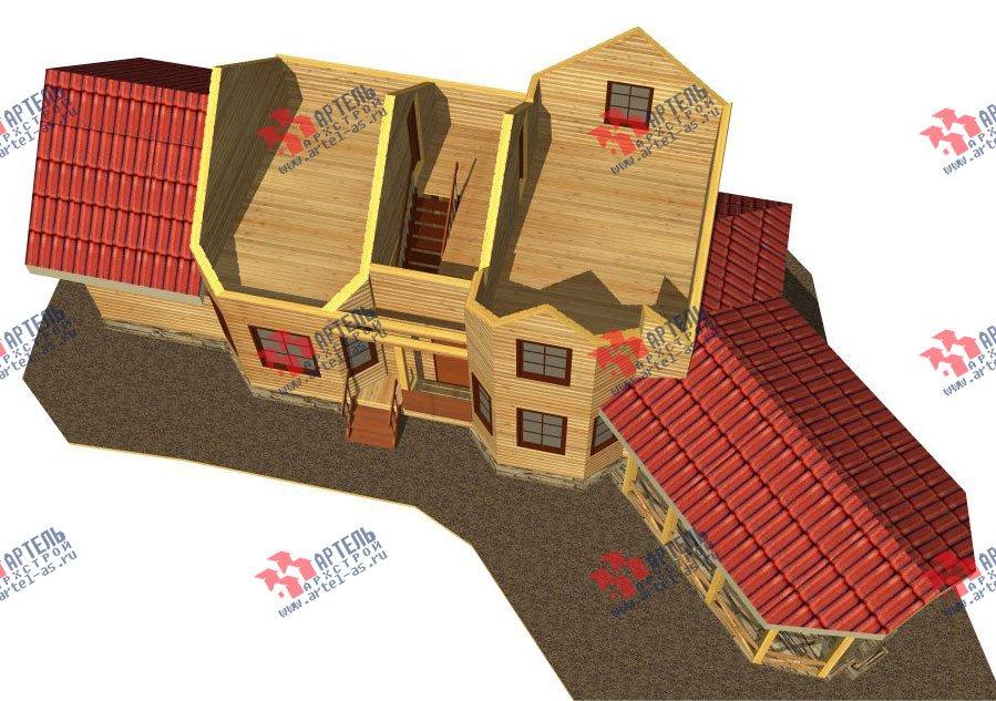 двухэтажный дом из профилированного бруса площадью от 100 до 150 кв. м. с  мансардой, террасой, эркером, проект Вариант 6.7 Б фотография 2474