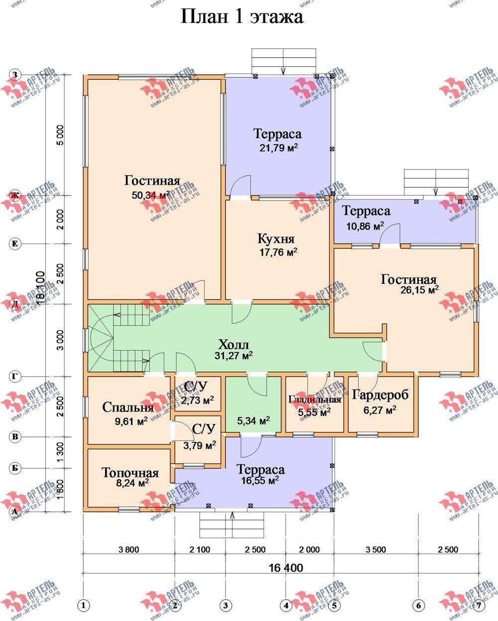 двухэтажный дом из бруса площадью свыше 200 кв. м. с  балконом, мансардой, террасой, проект Вариант 18 А фотография 2421