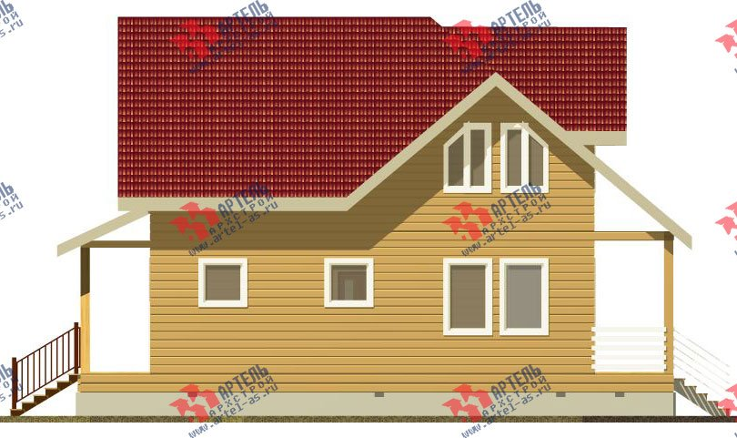 двухэтажный дом из бруса площадью от 100 до 150 кв. м. с  мансардой, проект Вариант 4 фотография 2511
