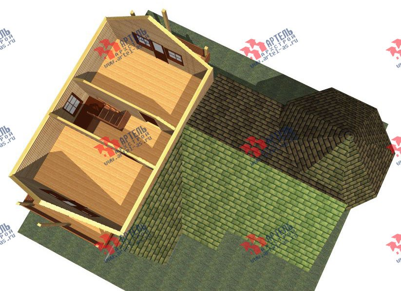 двухэтажный дом из профилированного бруса площадью от 150 до 200 кв. м. с  балконом, мансардой, эркером, проект Вариант 9 Е-1 фотография 2594