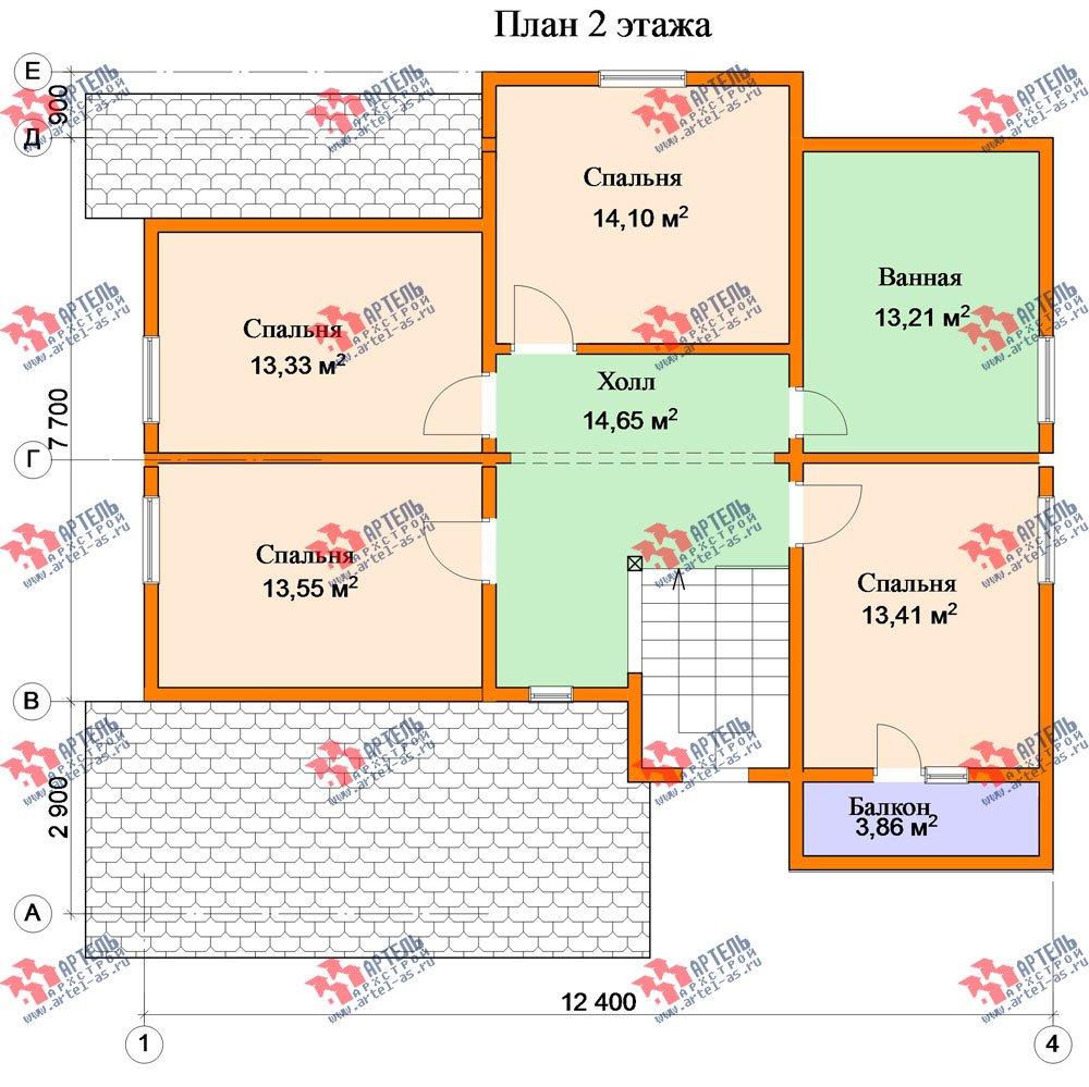 двухэтажный дом из бруса площадью от 150 до 200 кв. м. с  балконом, террасой, эркером, проект Вариант 12.4 А фотография 2684