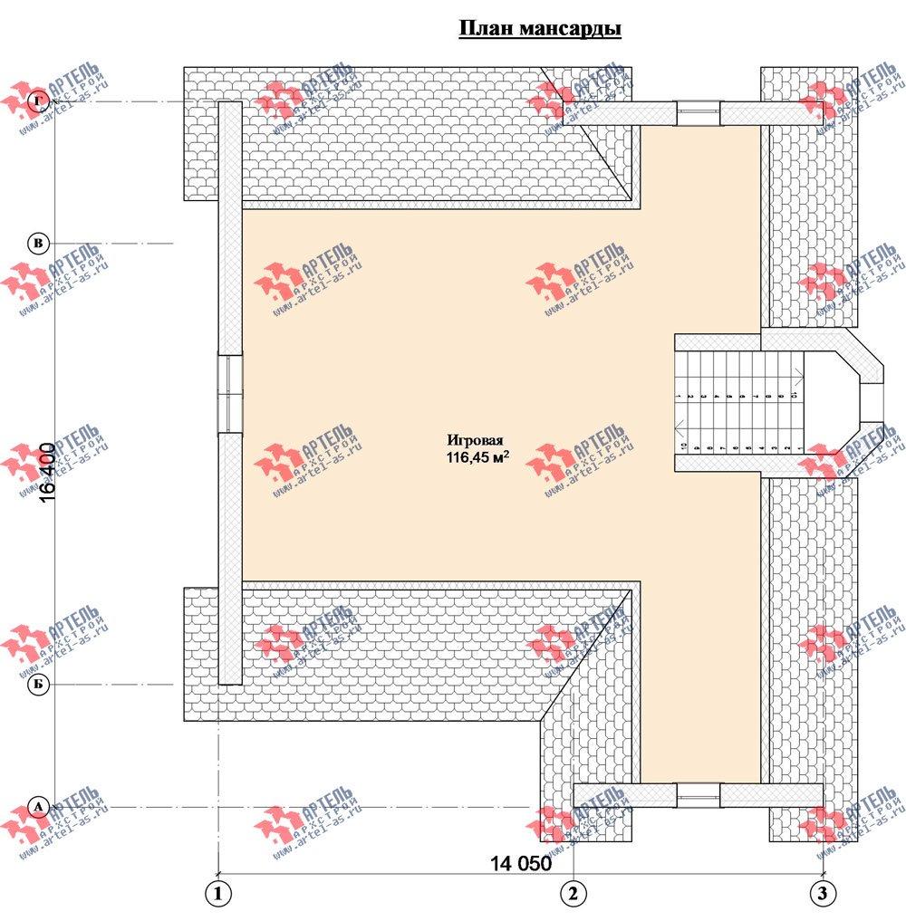 трёхэтажный дом из камня площадью свыше 200 кв. м. с  балконом, мансардой, эркером, проект Вариант 24 фотография 2750