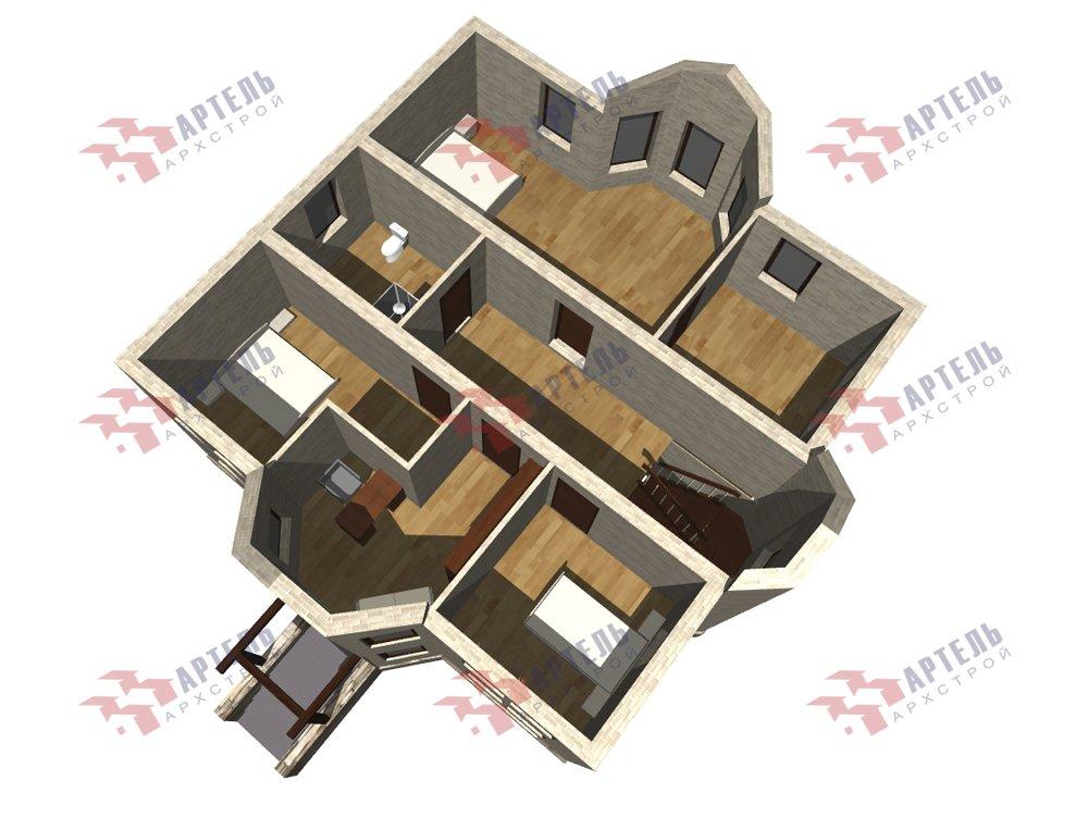 двухэтажный дом из камня площадью от 150 до 200 кв. м. с  террасой, эркером, проект Вариант 10,6К Каменный фотография 6248