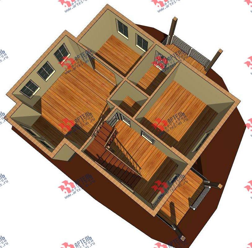 двухэтажный дом из профилированного бруса камерной сушки площадью от 100 до 150 кв. м. с  мансардой, проект Вариант 6 фотография 2787