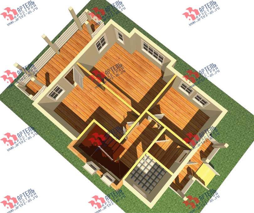 двухэтажный дом из профилированного бруса камерной сушки площадью от 100 до 150 кв. м. с  балконом, террасой, эркером, проект Вариант 9 фотография 2994