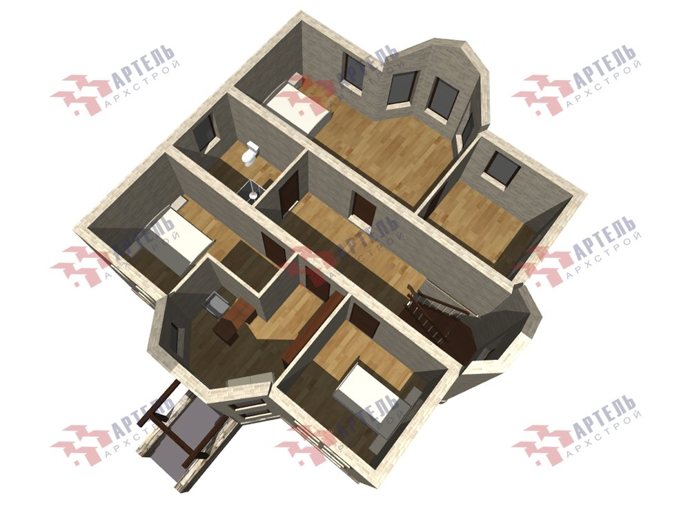 двухэтажный дом омбинированные дома площадью свыше 200 кв. м. с  эркером, проект Вариант 10,6К Камень и Комбинированный фотография 6275