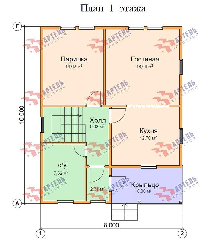 двухэтажный дом из профилированного бруса площадью от 100 до 150 кв. м. с  балконом, мансардой, проект Вариант 8 К фотография 4875
