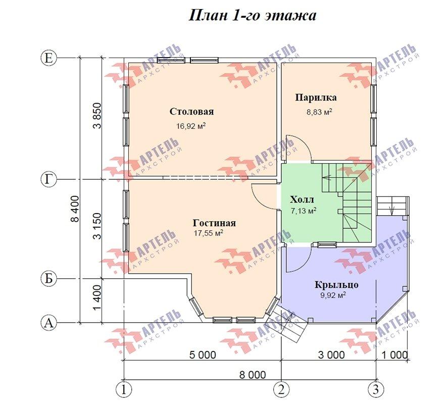 двухэтажный дом из профилированного бруса площадью от 100 до 150 кв. м. с  балконом, мансардой, эркером, проект Вариант 8 Л фотография 4874