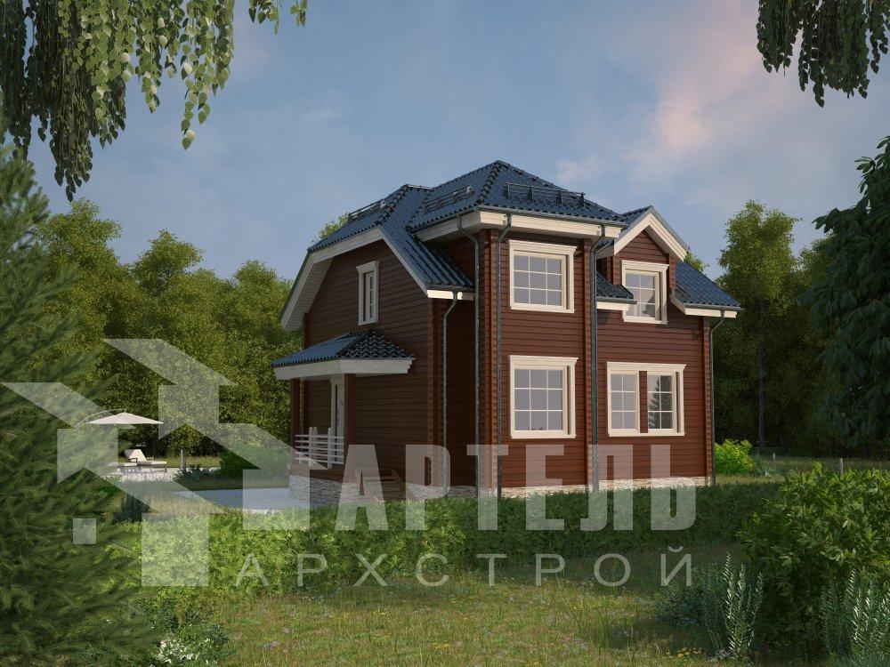 двухэтажный дом из профилированного бруса площадью от 100 до 150 кв. м. с  мансардой, эркером, проект Вариант 8 Т фотография 5946