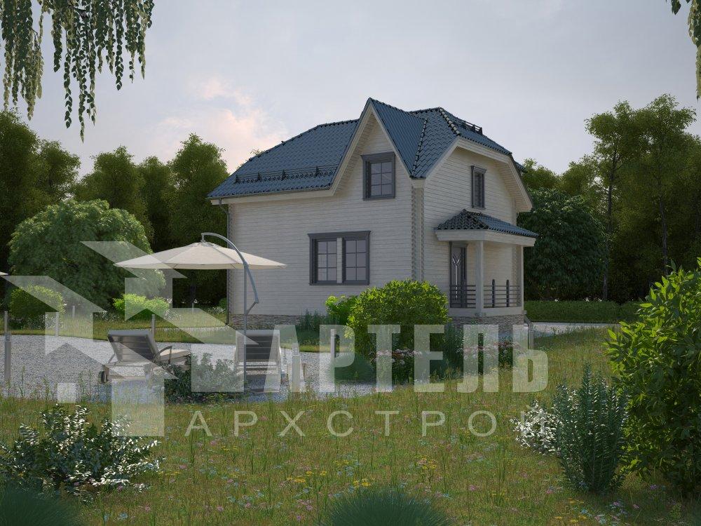 двухэтажный дом из профилированного бруса площадью от 100 до 150 кв. м. с  мансардой, эркером, проект Вариант 8 Т фотография 5951