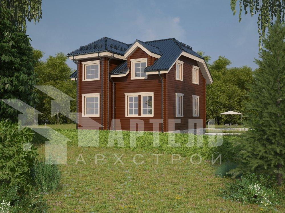 двухэтажный дом из профилированного бруса площадью от 100 до 150 кв. м. с  мансардой, эркером, проект Вариант 8 Т фотография 5947
